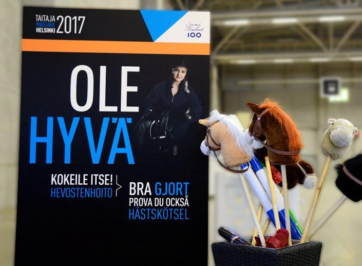 Taitaja2017 Helsinki Ole hyvä -pisteen seinämä hevostenhoito